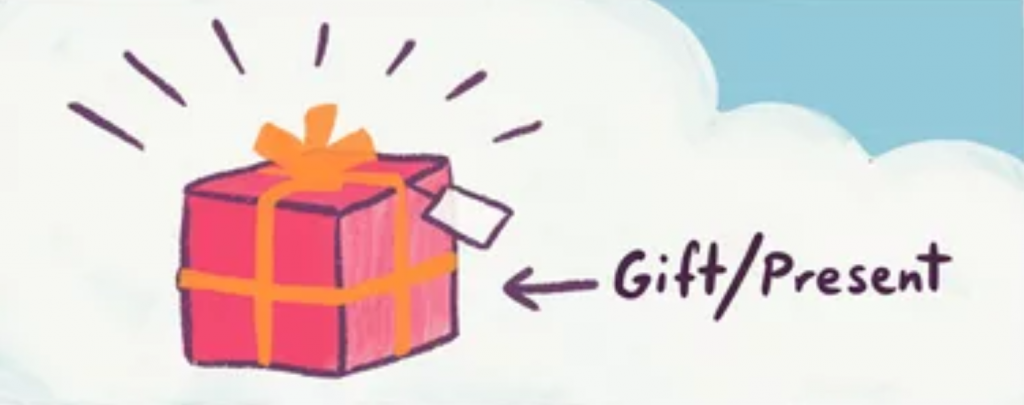 A gift equalts to a present. The words mean the same