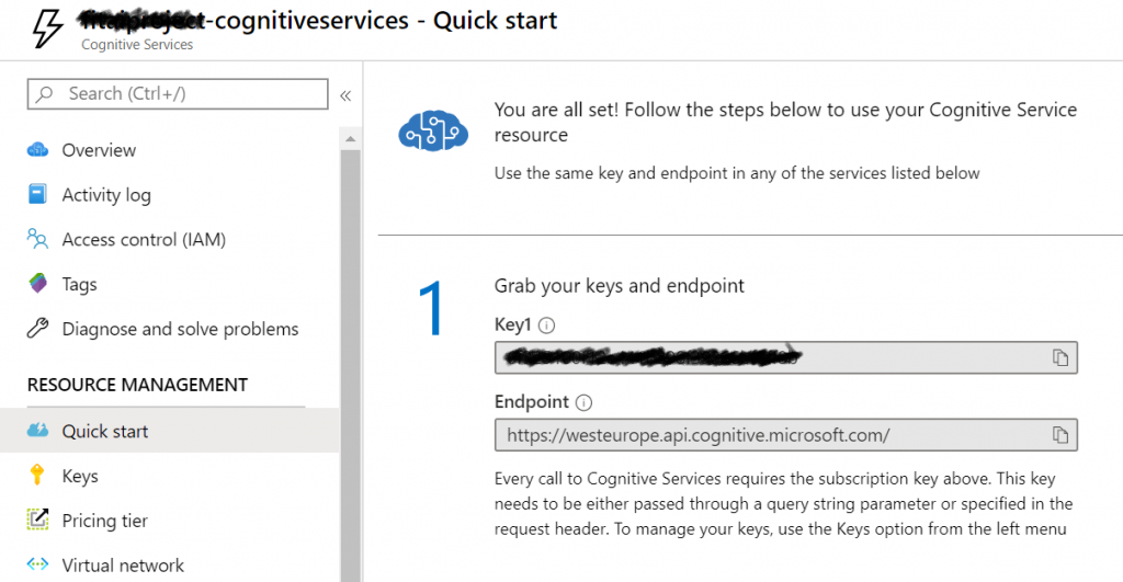 You can find the endpoint and key for your cognitive service in the Azure Portal
